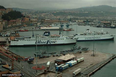 boat from split to italy jadrolinija and blue line ferries in ancona ferry port