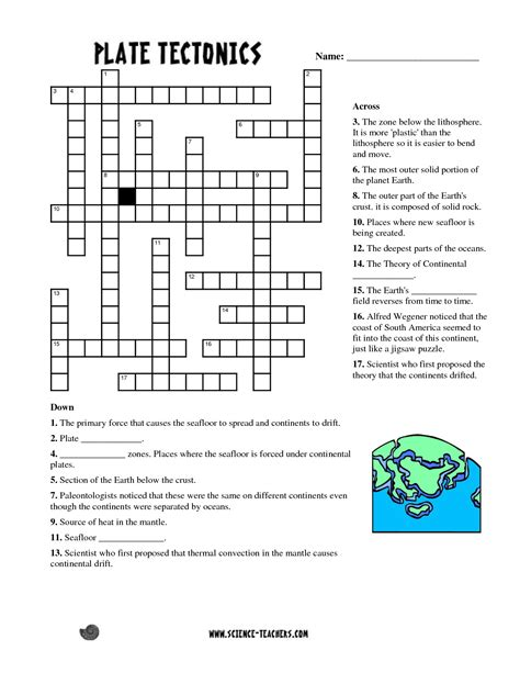 Plate Tectonics Worksheets For Middle School by Planets Crossword Puzzle Worksheet Pics About Space