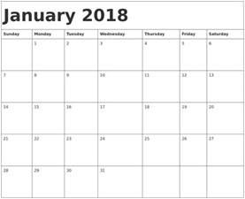 Calendar 2018 January Template January 2018 Calendar Template