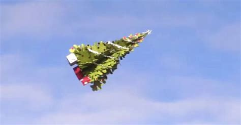 a flying christmas trees is the ultimate show of holiday