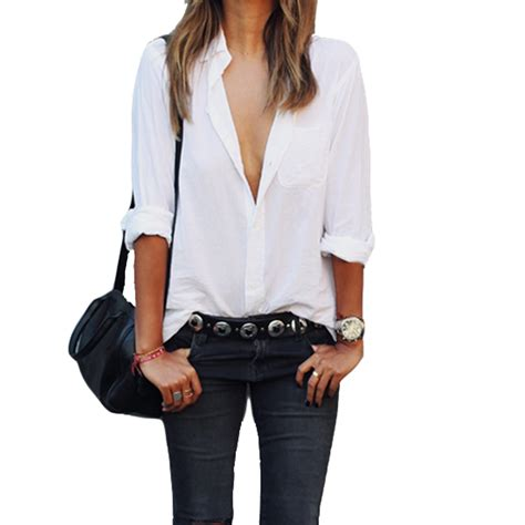 21384 White Casual Top fashion sleeve blouse white shirt pocket shirt casual tops plus size