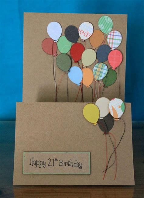 handmade 21st birthday card card