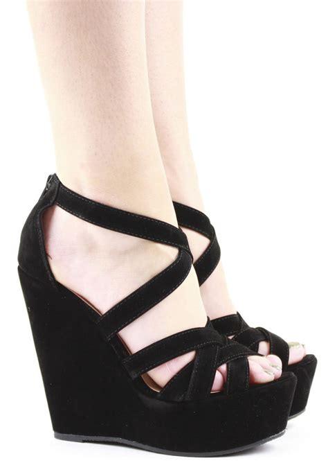 high heel wedges womens platform strappy peeptoe