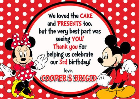 disney world thank you card templates mickey minnie mouse thank you card on storenvy