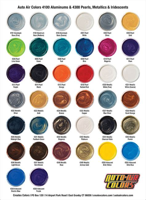 ato colors auto air color charts airbrush paint direct