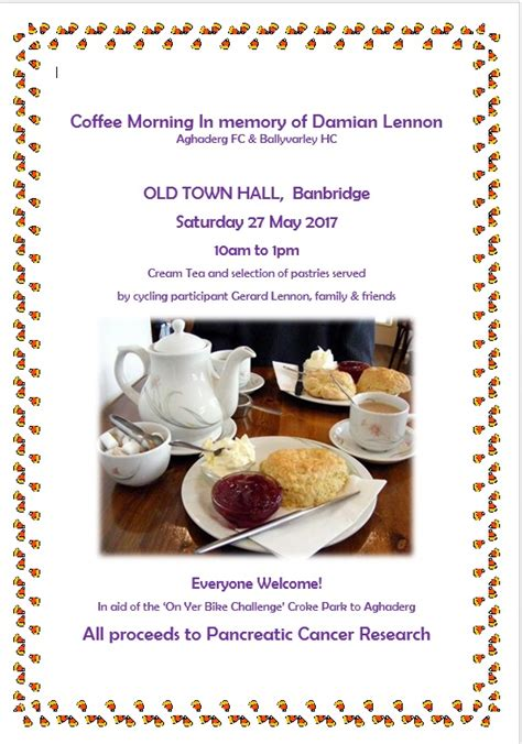 in memory of damian coffee morning in memory of damian lennon integrated