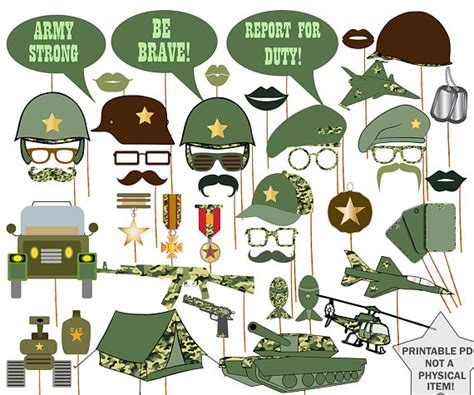 printable army photo booth props army photo booth props military props army