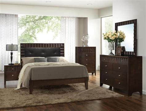 leather queen bedroom set 5 pc nadine dark finish wood tufted bonded leather queen