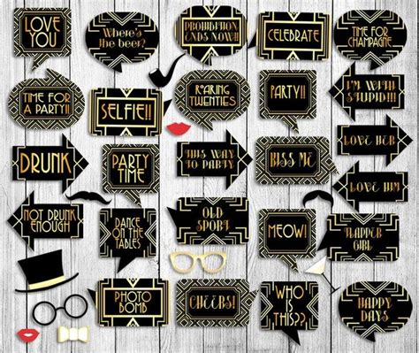 printable gatsby photo booth props printable gatsby themed 1920s party set props tags x 2