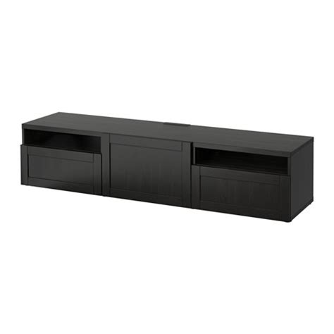 ikea besta tv unit best 197 tv unit hanviken black brown 180x40x38 cm drawer runner push open ikea