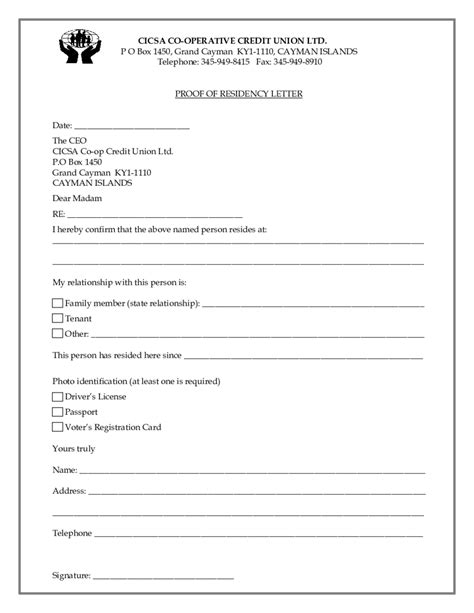 2018 proof of residency letter fillable printable pdf