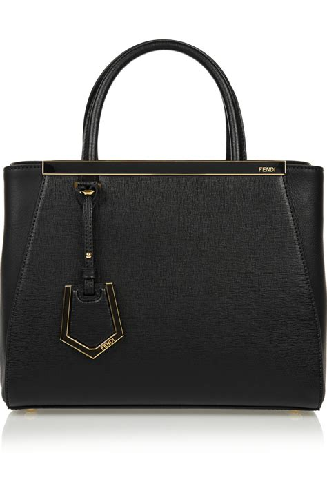 Fendi 2jours Tricolours fendi 2jours small textured leather shopper in black lyst