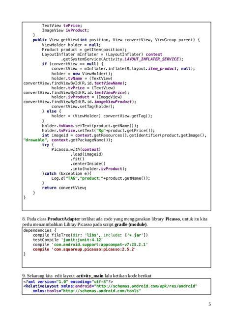 layoutinflater partent is null belajar android membuat katalog produk