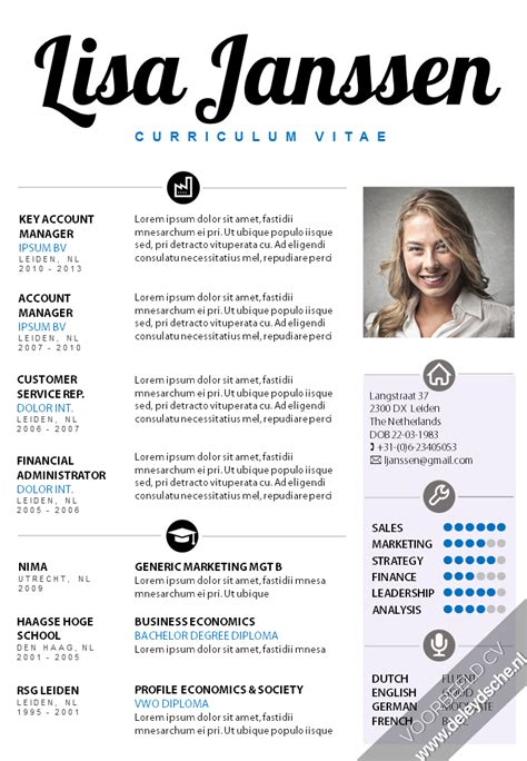 Curriculum Vitae Sample Format Doc by Voorbeeld Cv