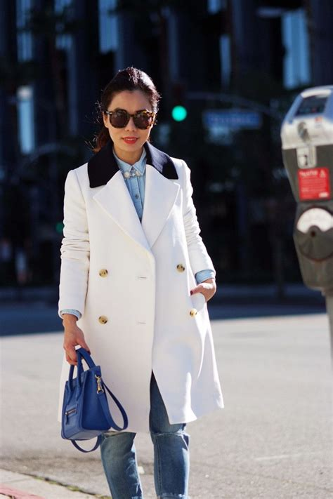Compare Contrast Wearing A Winter White Coat by Winter White J Crew Contrast Collar Topcoat And