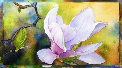 how to paint the magnolia flower watercolor painting part 2