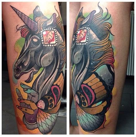 new school unicorn tattoo new school style colored leg tattoo of unicorn with human