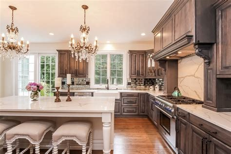 magnificent taupe kitchen cabinets  metallic tile