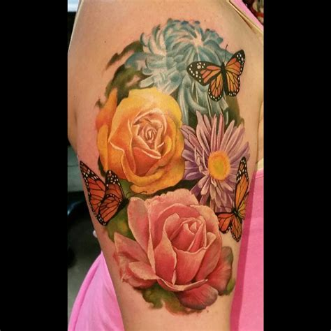 realistic flower tattoo designs flowers and butterflies best design ideas