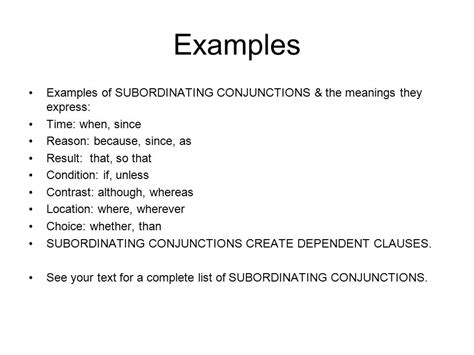 exle of conjunction phrases clauses conjunctions and related punctuation ppt