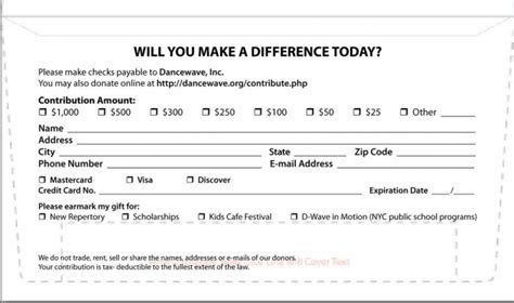 credit card donation form template what is a remit envelope