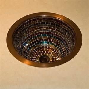 Araby glass mosaic copper sink bathroom