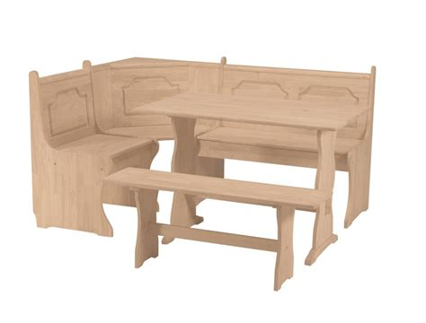 short bench combo whitewood trestle table and bench and corner nook short bench furniture in the raw