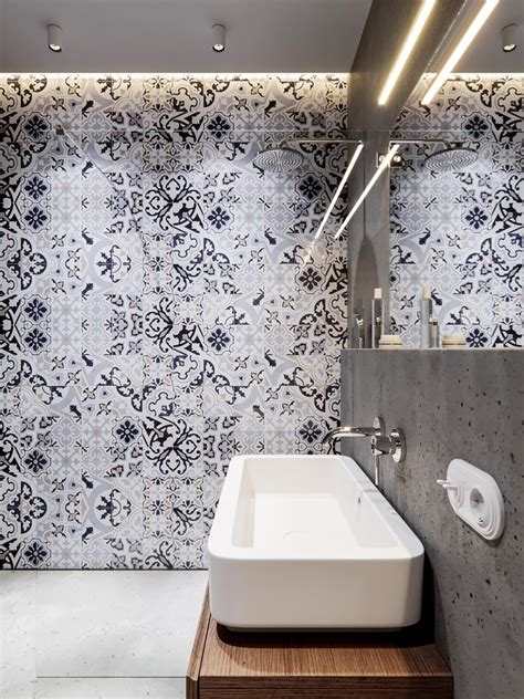 bathroom tiles arrangement trendy bathroom designs combined with modern and geometric