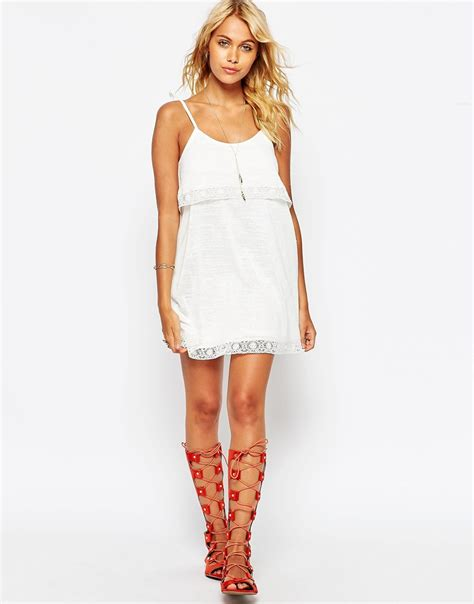 White Cotton Cami asos tiered cami dress with cotton lace in lyst