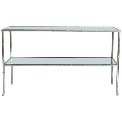 mid century chrome faux bamboo console table for sale at