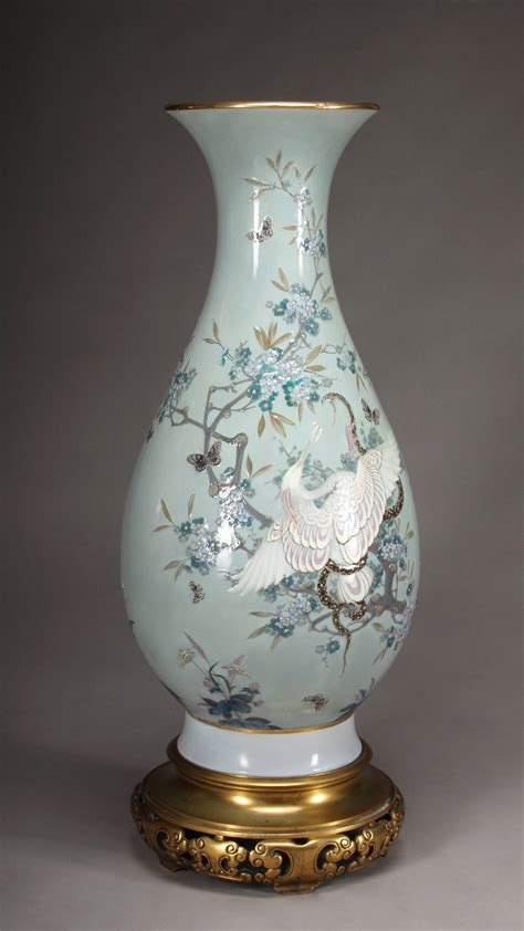 Sevres Vases by A Sevres Porcelain Pate Sur Pate Celadon Ground