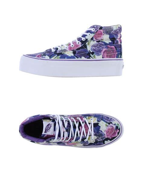 vans patterned high tops vans floral platform high top sneakers in purple lyst