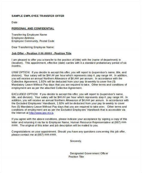 transfer offer letter template word format