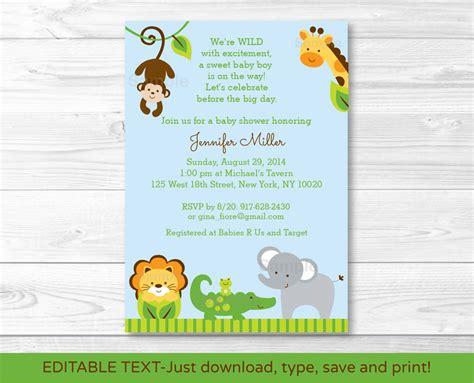 printable animal baby shower invitations blue safari jungle animals printable baby shower