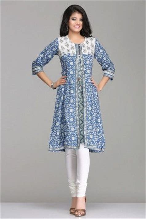 hairstyles for indian kurta chic blue white floral a line jacket style cotton kurta