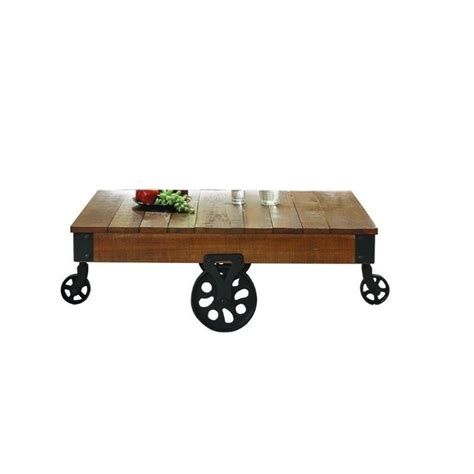 Factory Coffee Table Trent Home Factory Coffee Table Cart In Rustic Brown 3228 30