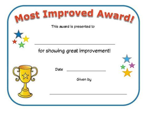classroom certificates templates most improved award classroom certificate