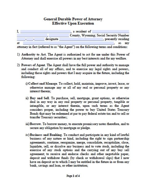 sle of power of attorney wyoming durable financial power of attorney form power