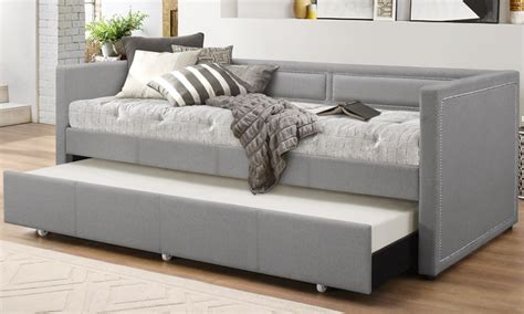 couch with trundle bed fabric nailhead trim sofa daybed groupon goods