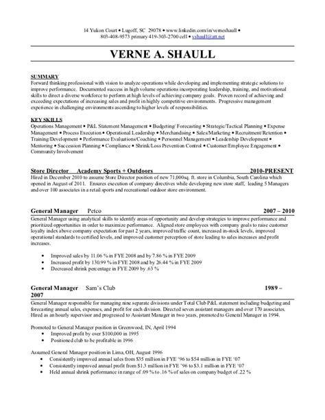 Resume Job Duties Examples by Management Resume Verne Shaull