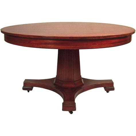 Dining Table With Extension Inlaid Mahogany Extension Dining Table 54 Quot Diameter At 1stdibs