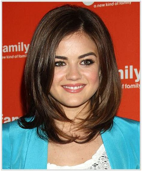 shag haircut for pear shaped figure lucy hale medium straight hairstyle for triangular or pear