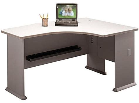 bush wc14522 right l bow desk series a pewter collection