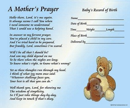 baby s s day poem a s prayer boy with baby s birth information a