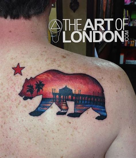california state bear beach sunset tattoo by london reese
