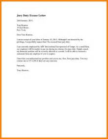 Excuse Letter Reasons Jury Duty Excuse Letter Template Letter Template 2017