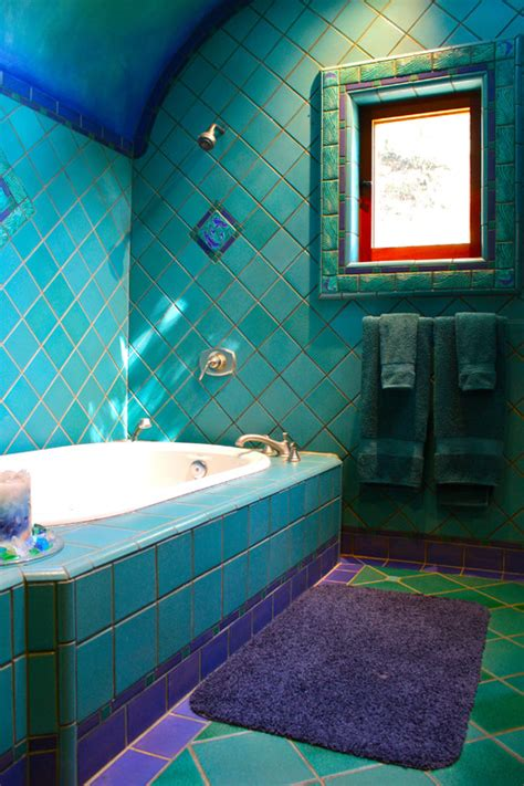 purple and teal bathroom curved shower rod possible here