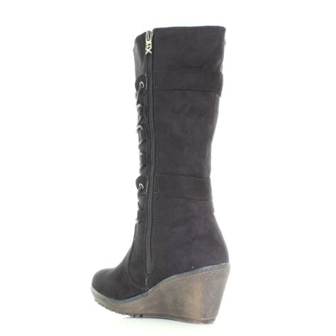 womens xti black wedge heel winter calf high