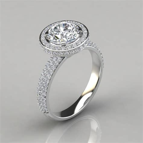 trio micro pav 233 cut halo engagement ring