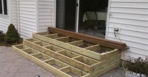 wooden patio steps porch stairs outdoor ideas
